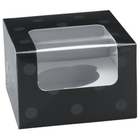 Black Dot 1 Ct. Cupcake Box with Window
