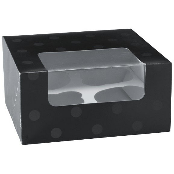 Black Dot 4 Ct. Cupcake Box with Window