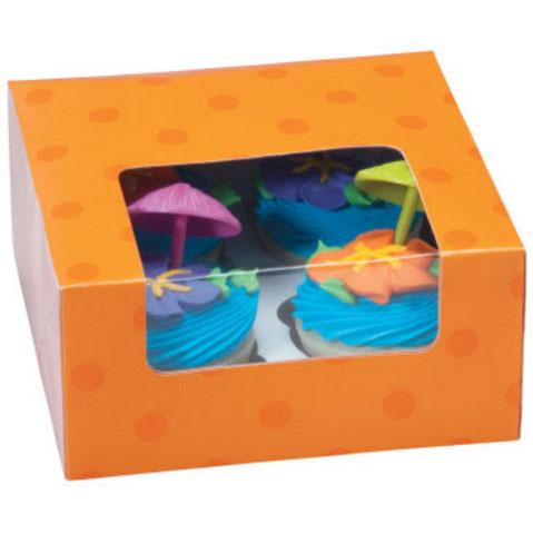Orange Dot 4 Ct. Cupcake Box with Window