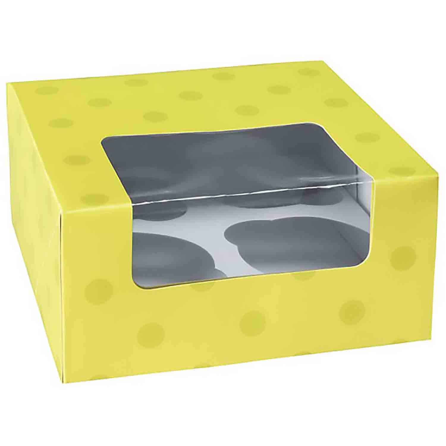 Lime Green Dot 4 Ct. Cupcake Box with Window
