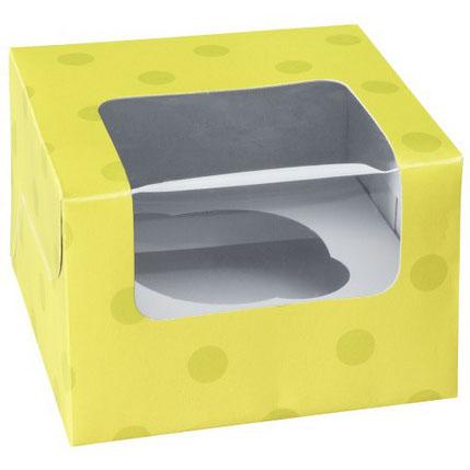 Lime Green Dot 1 Ct. Cupcake Box with Window