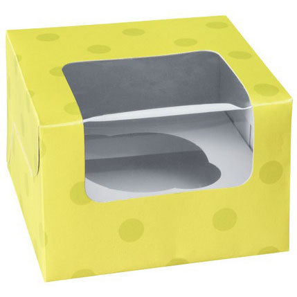 Lime Green Dot 1 Ct. Cupcake Box with Window
