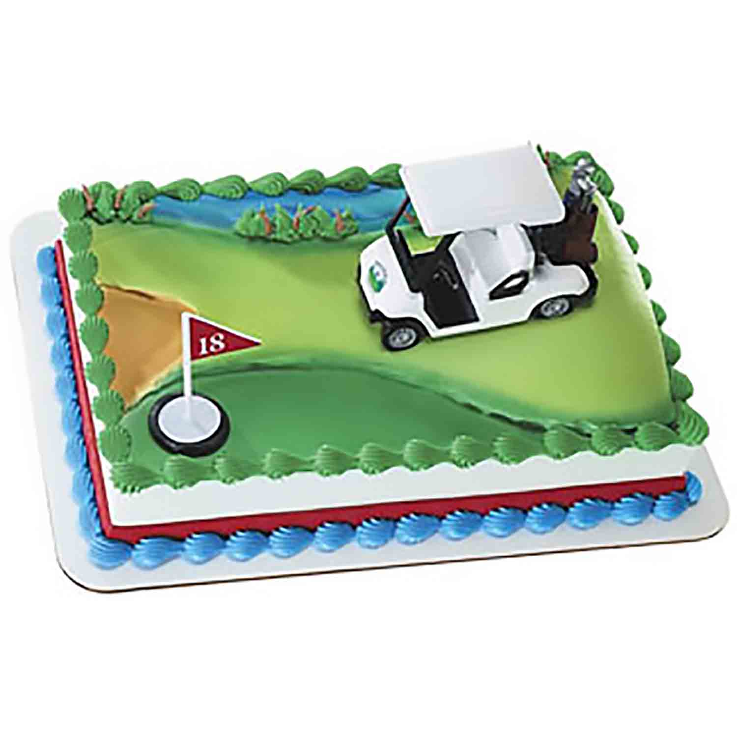 Golf Cart and Flag Cake Set