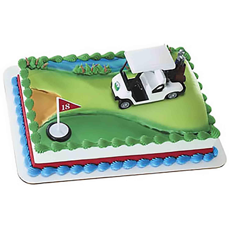 Golf Cart and Flag Cake Set