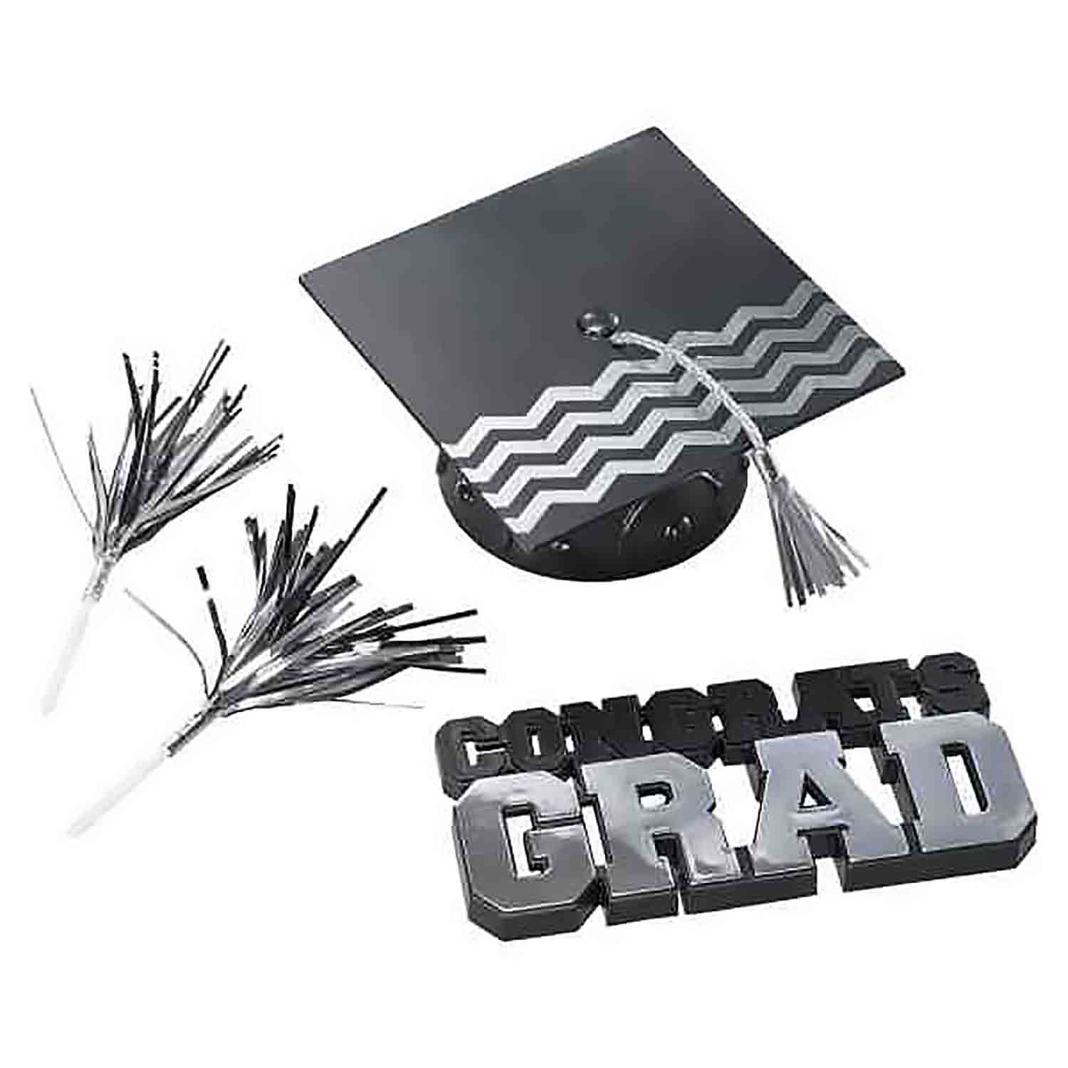 Silver Congrats Grad and Cap Set