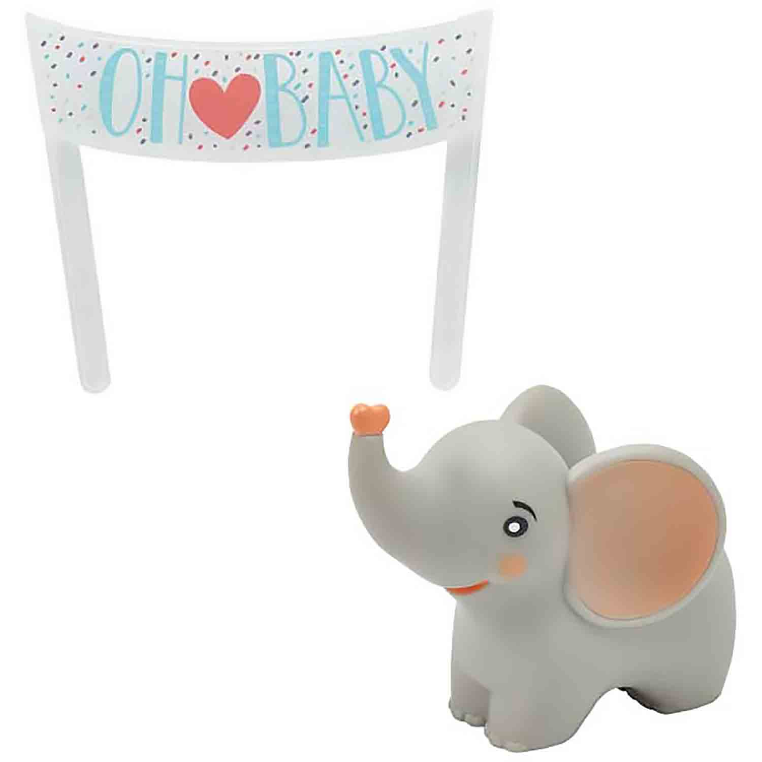 Oh Baby Elephant Topper Set