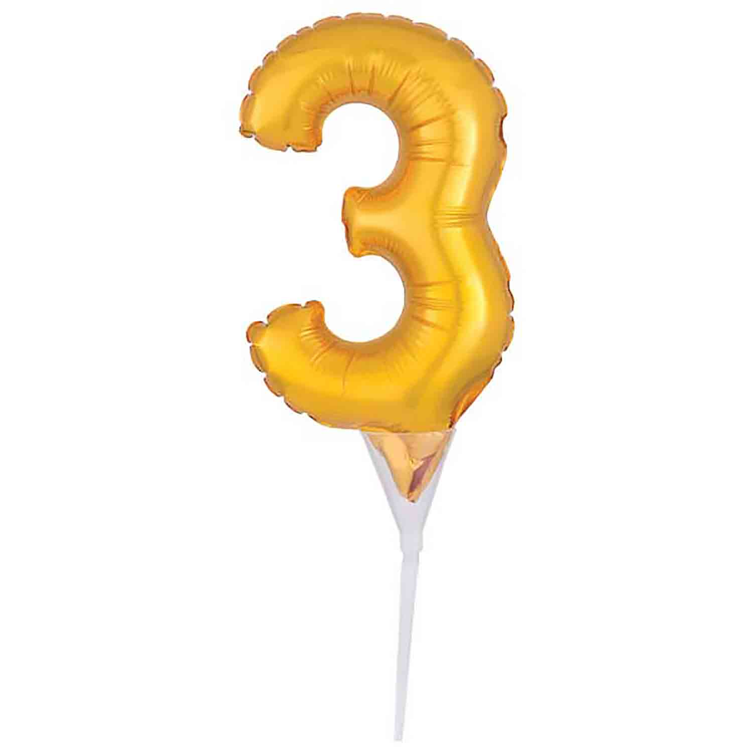 Number 3 Gold Balloon Pick