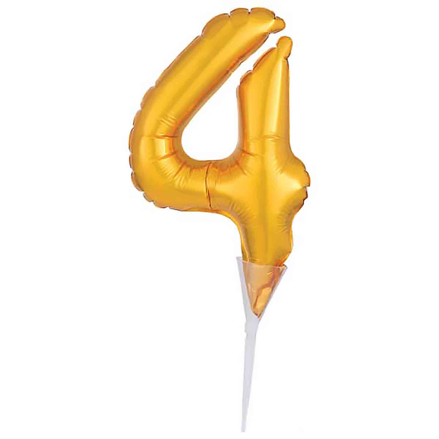 Number 4 Gold Balloon Pick
