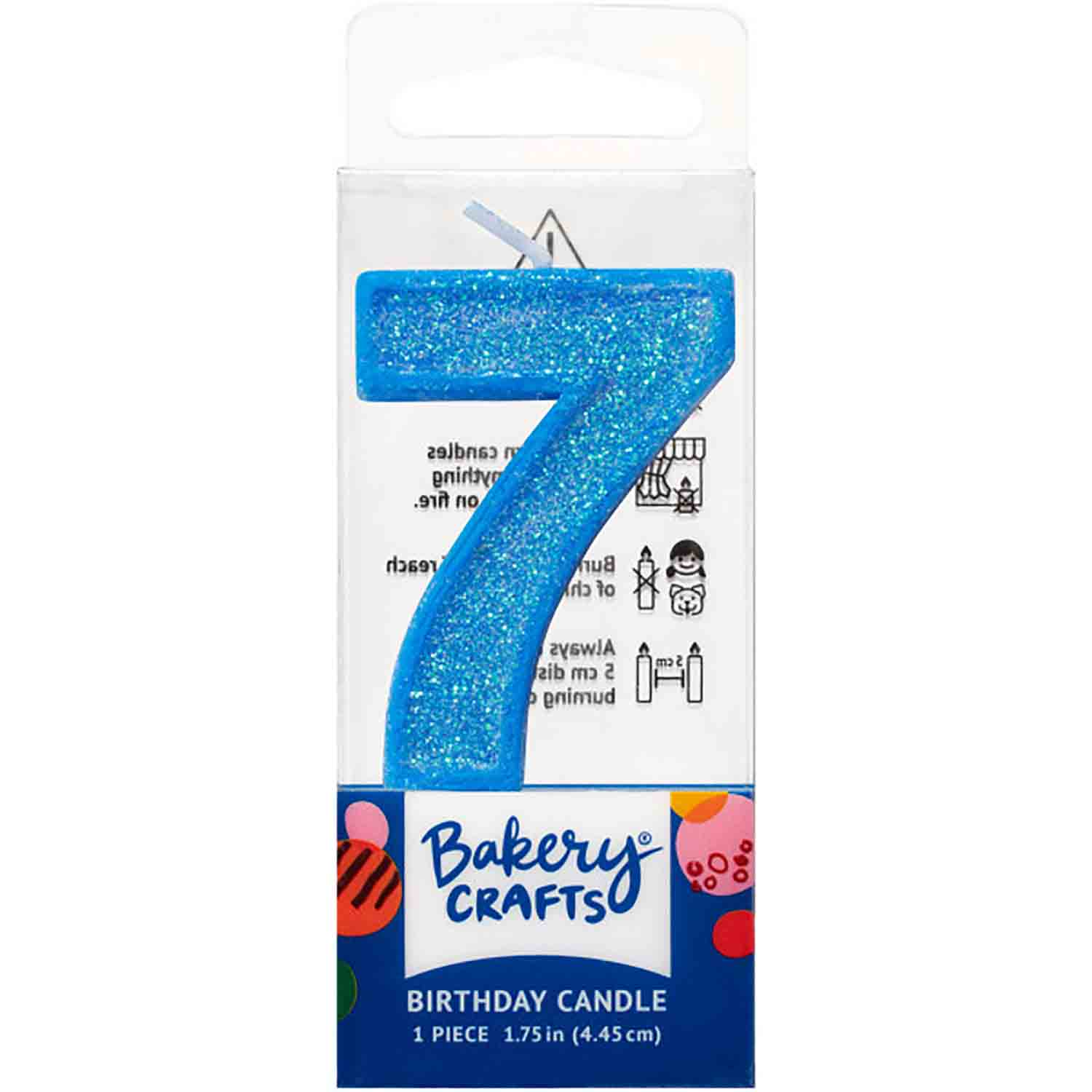 Blue Number 7 Glitter Candle