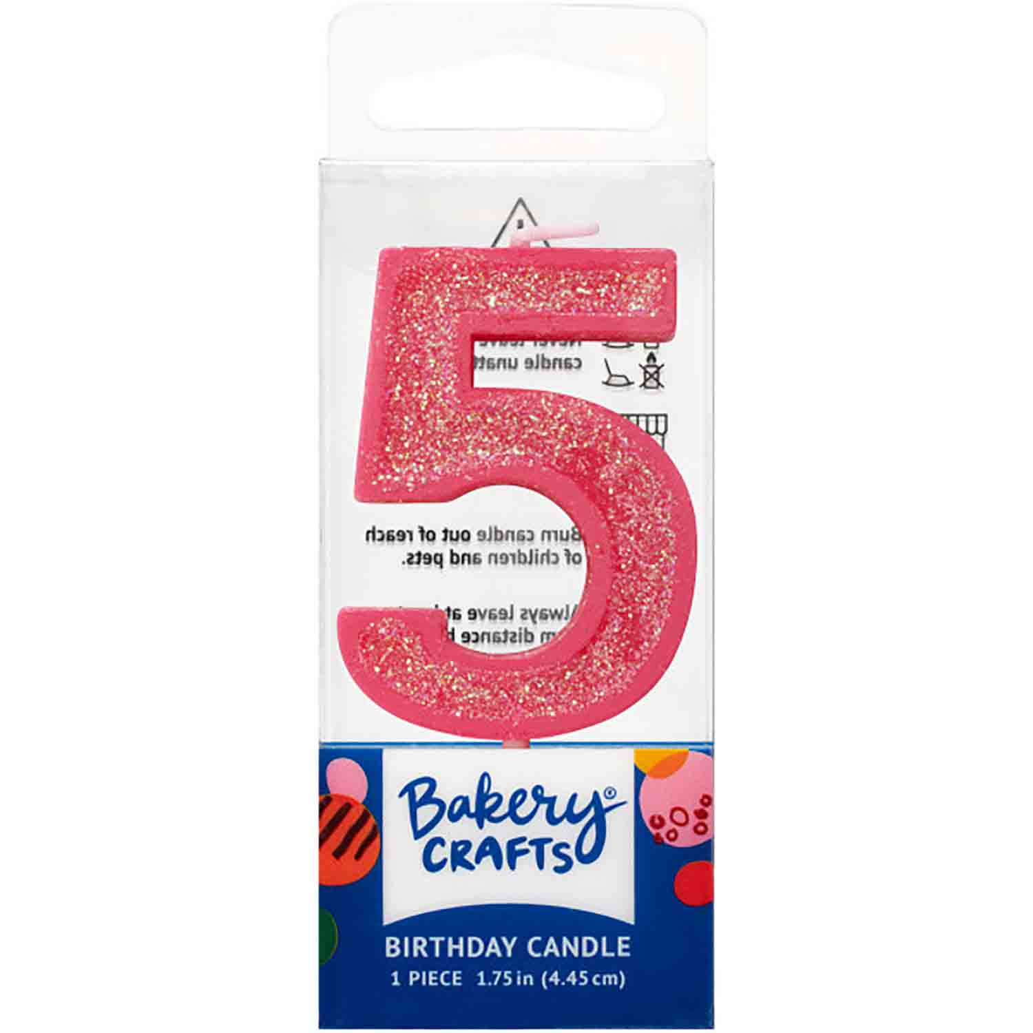 Pink Number 5 Glitter Candle