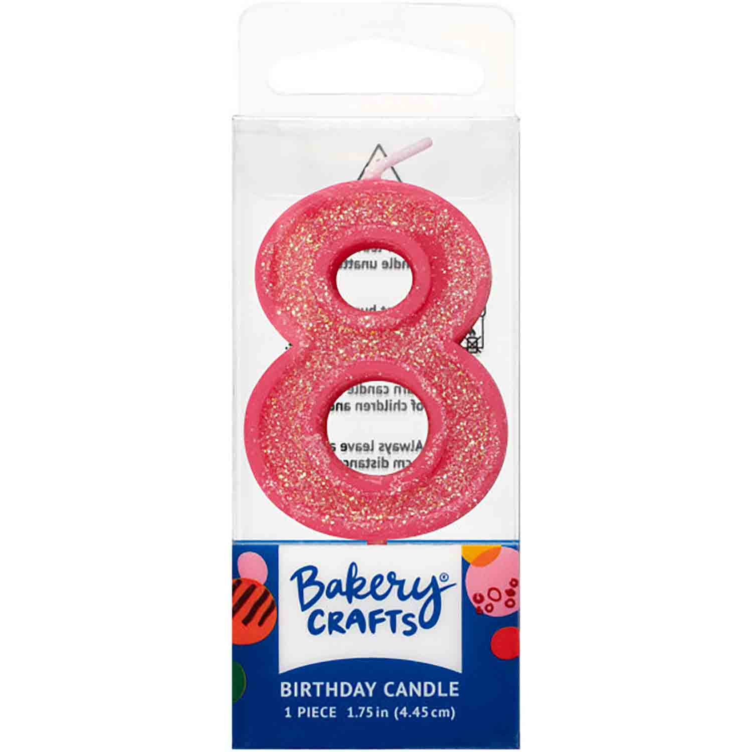 Pink Number 8 Glitter Candle