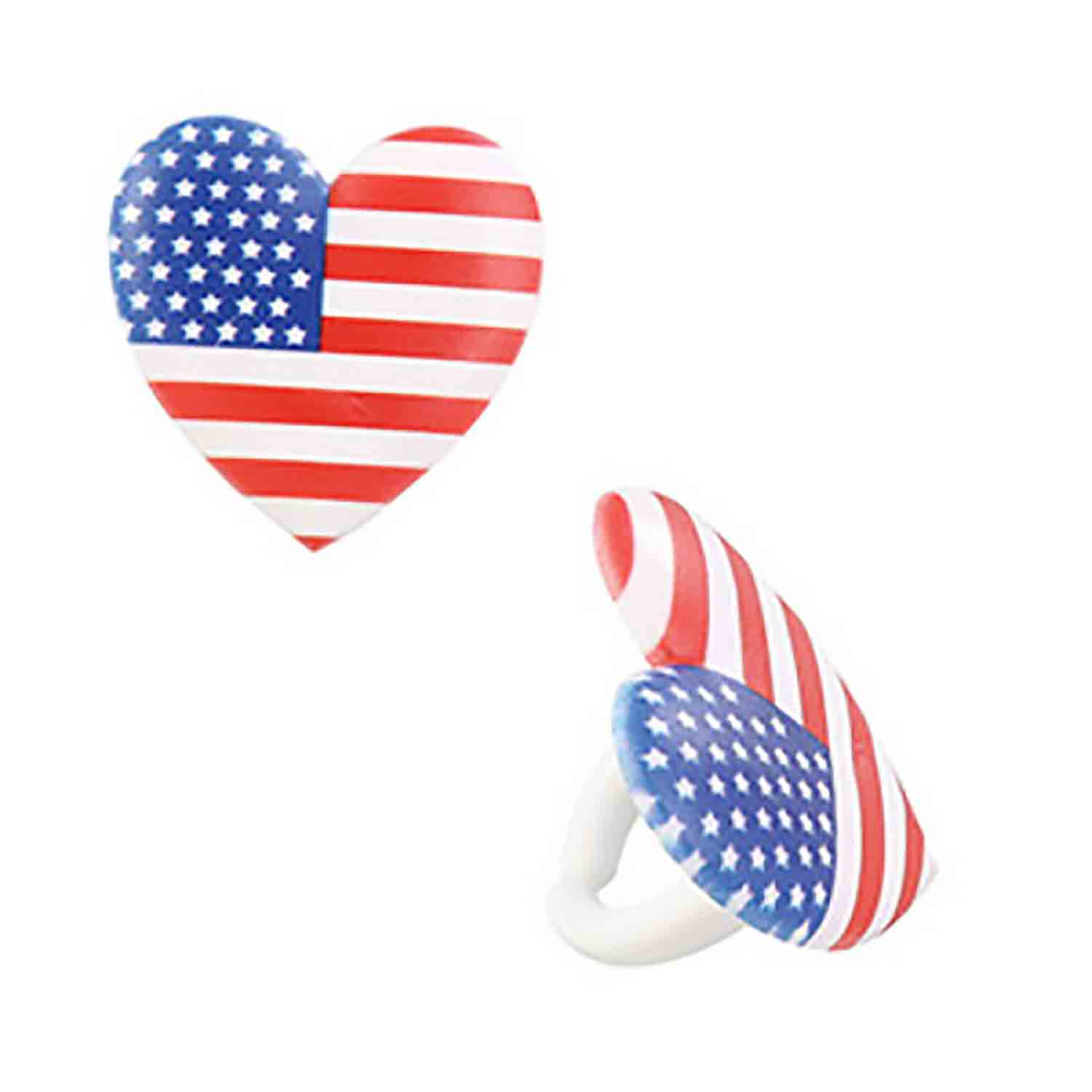 I Love USA Heart Rings