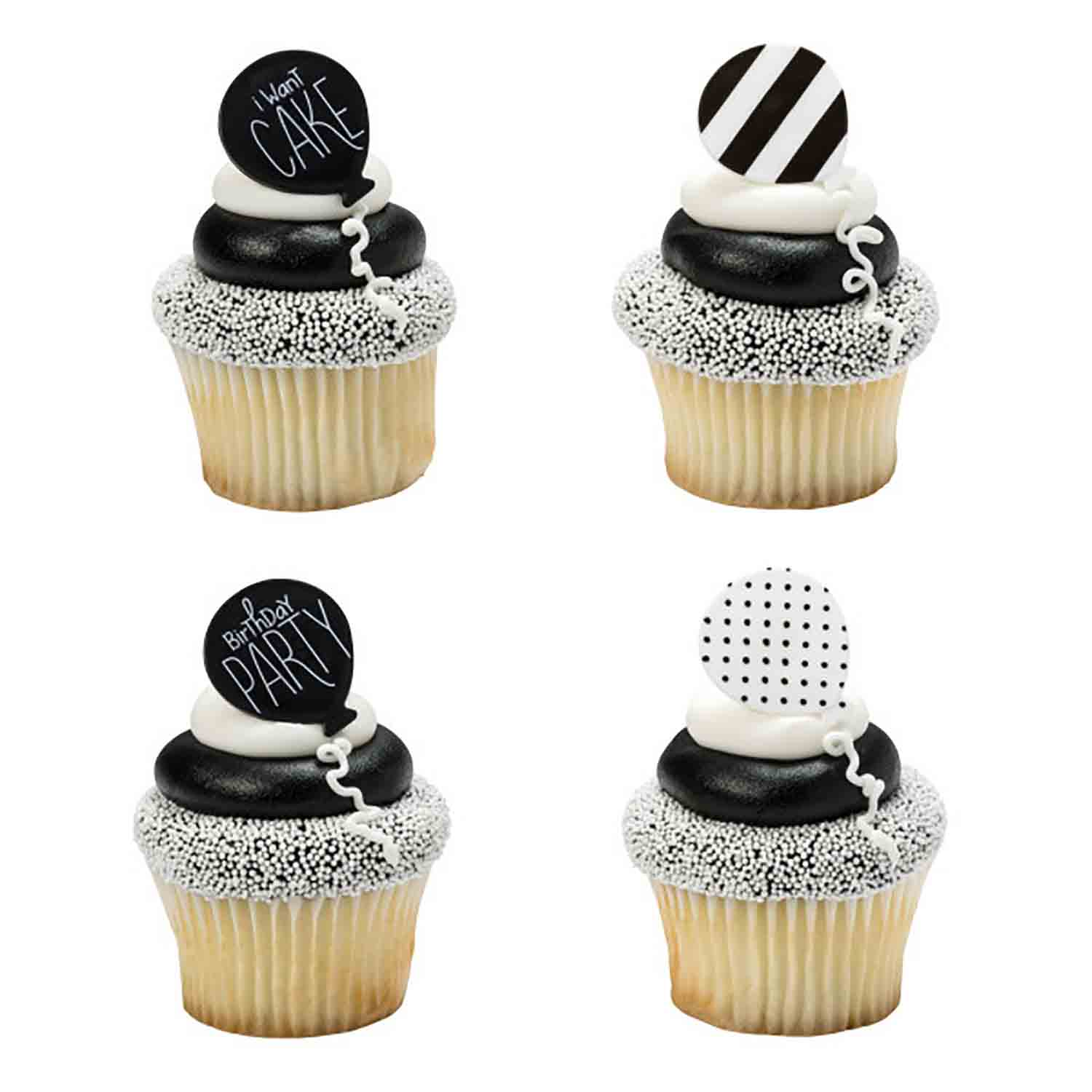 Black & White Birthday Balloon Rings