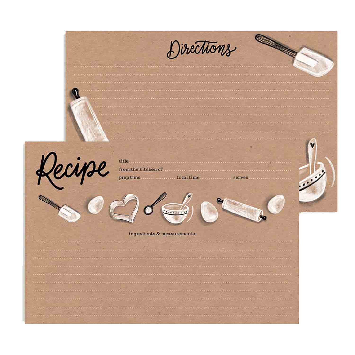 Kraft Paper Baking Recipe Cards