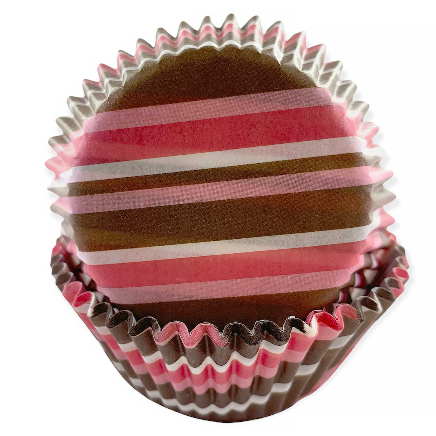 Pink & Brown Stripe Standard Baking Cups