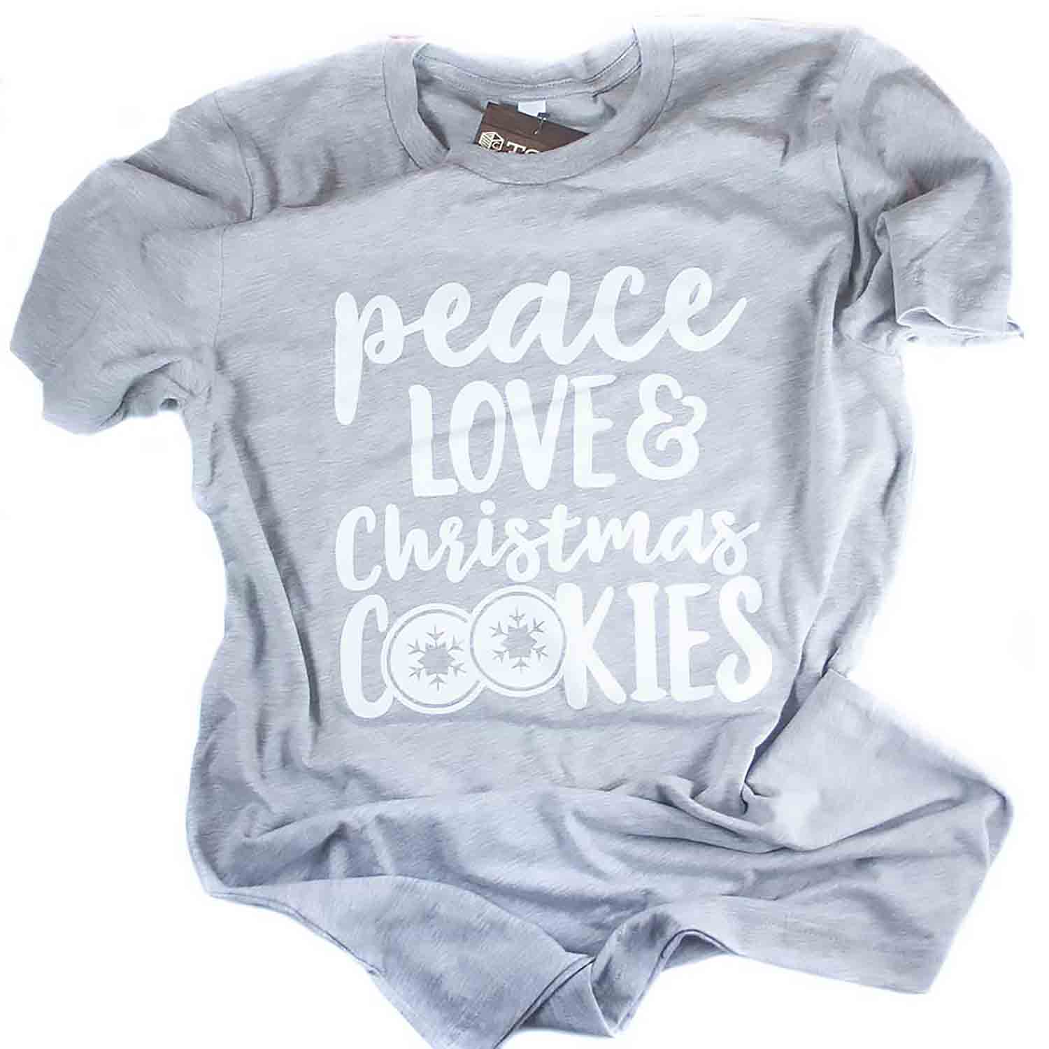 Grey Peace Love & Christmas Cookies T-Shirt - Large