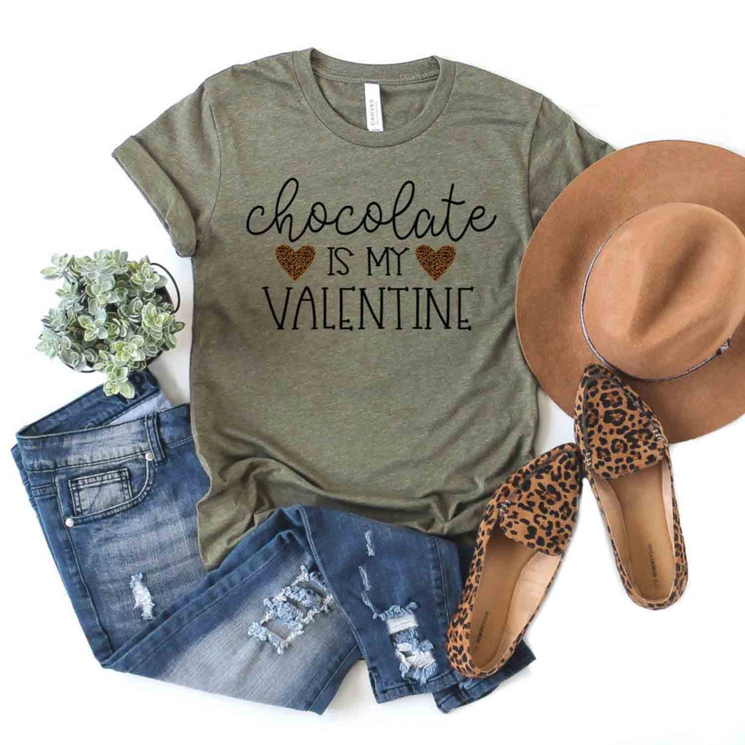 Chocolate Is My Valentine T-Shirt - Extra Large