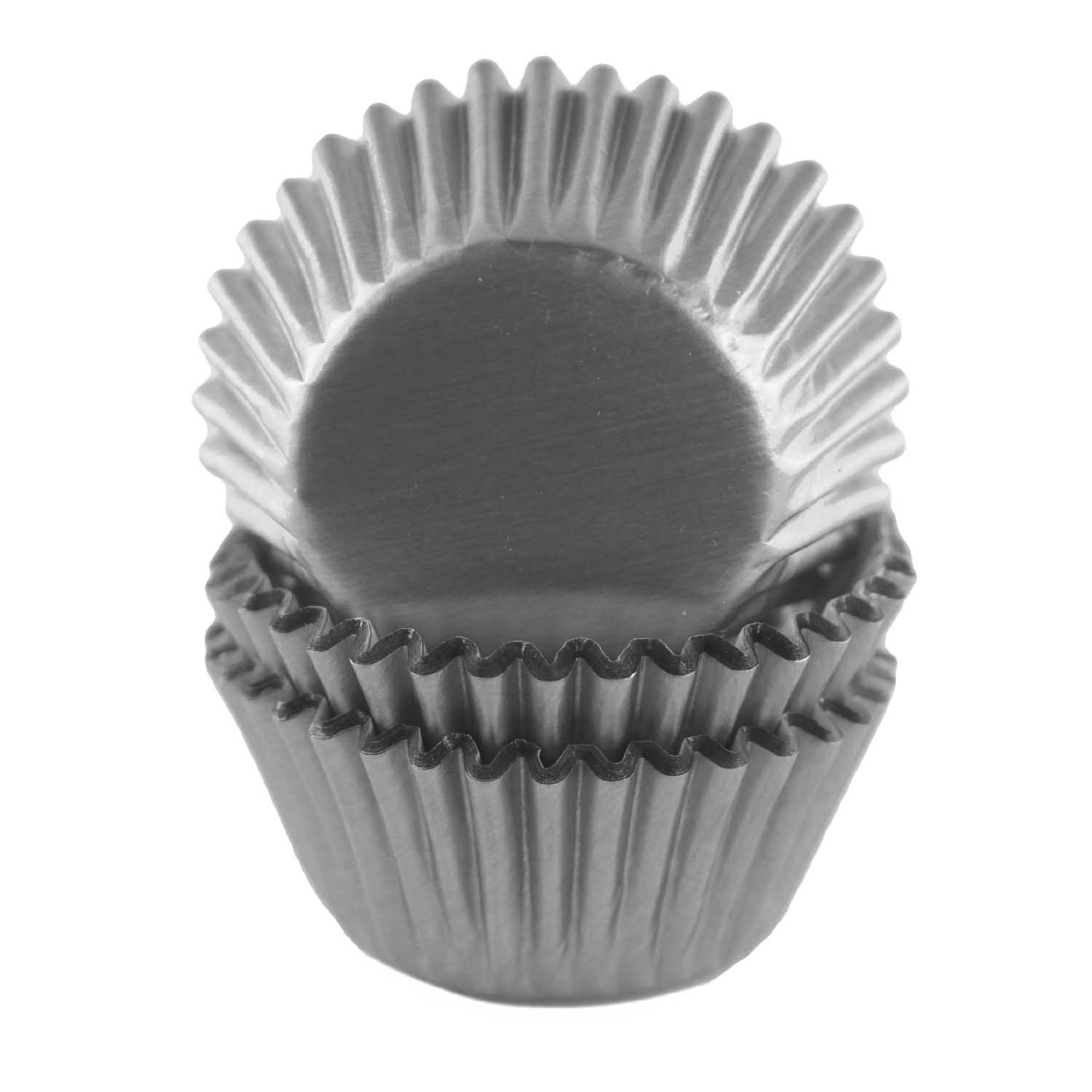Grey Foil Mini Baking Cups