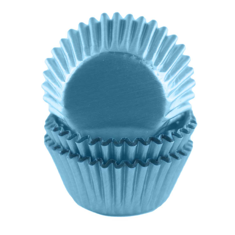 Light Blue Foil Mini Baking Cups