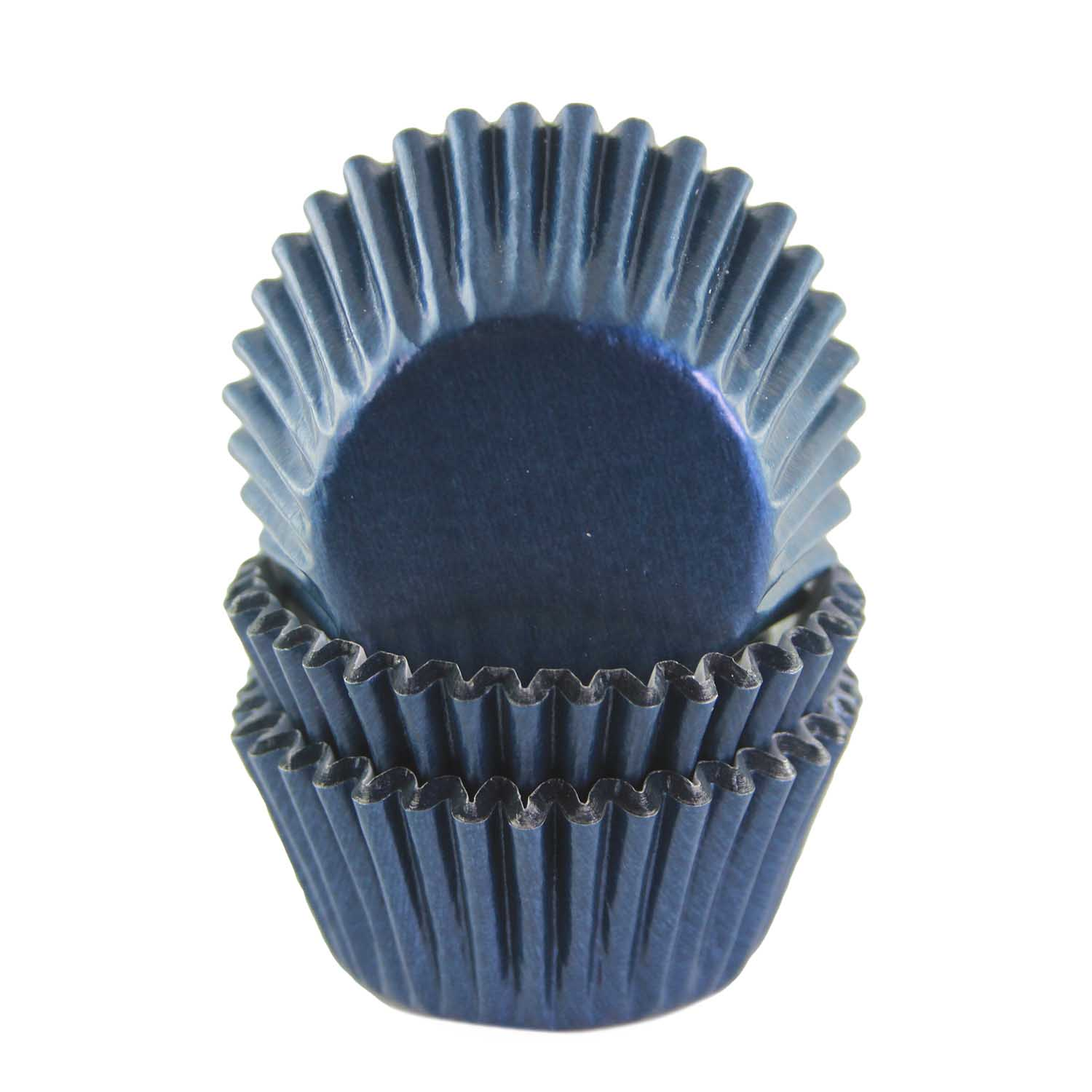Navy Blue Foil Mini Baking Cups