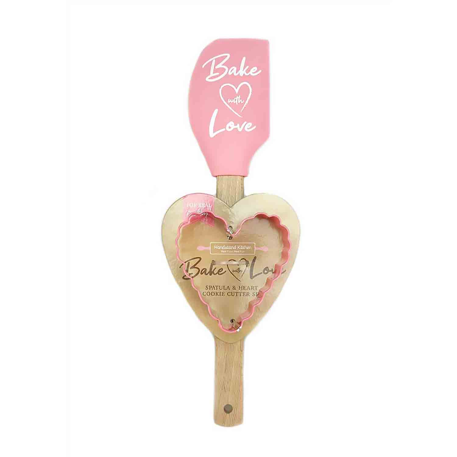 Bake With Love Spatula and Heart Cookie Cutter