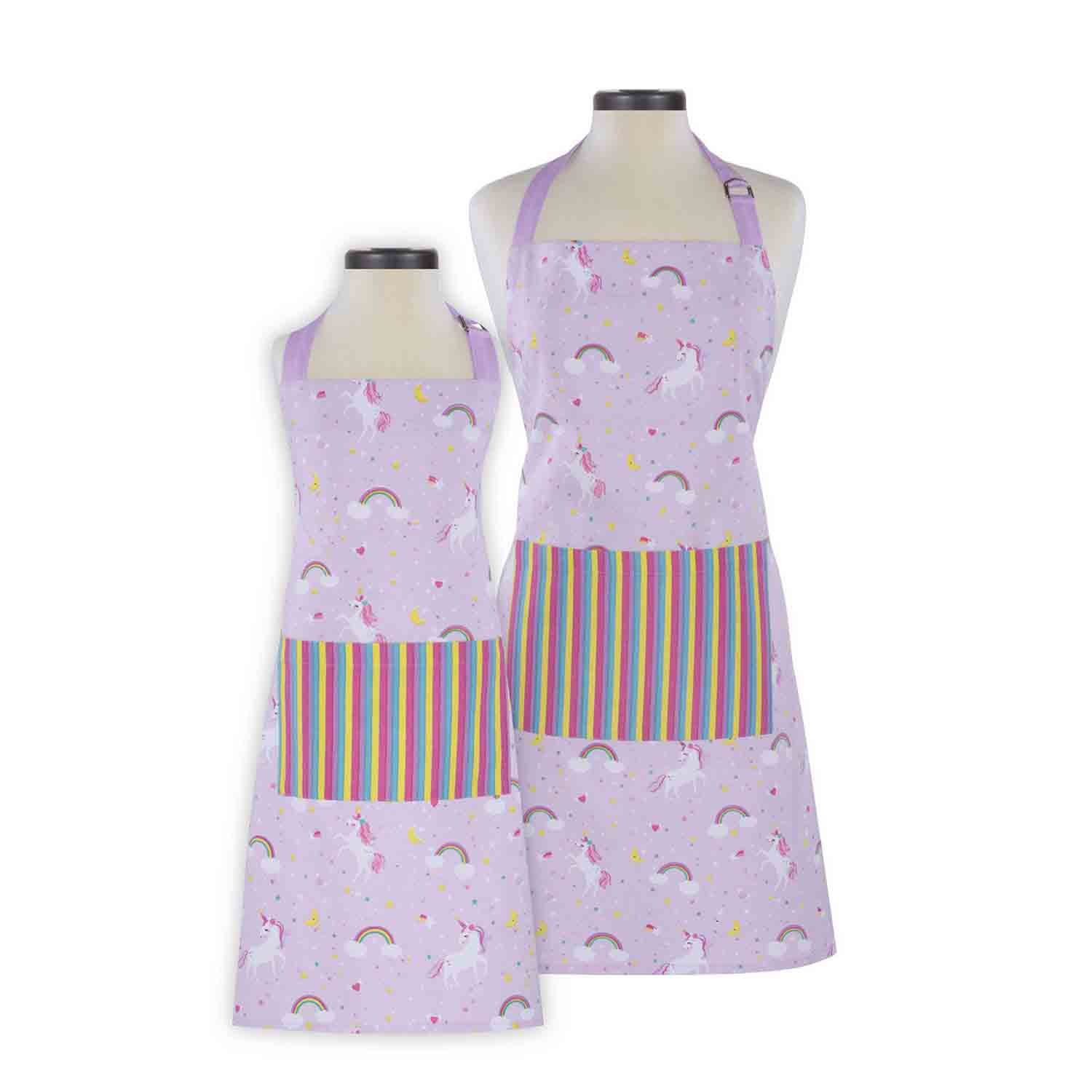 Rainbows & Unicorns Adult and Child Apron Set