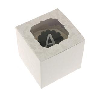 Pearl White Flourish Cupcake Box