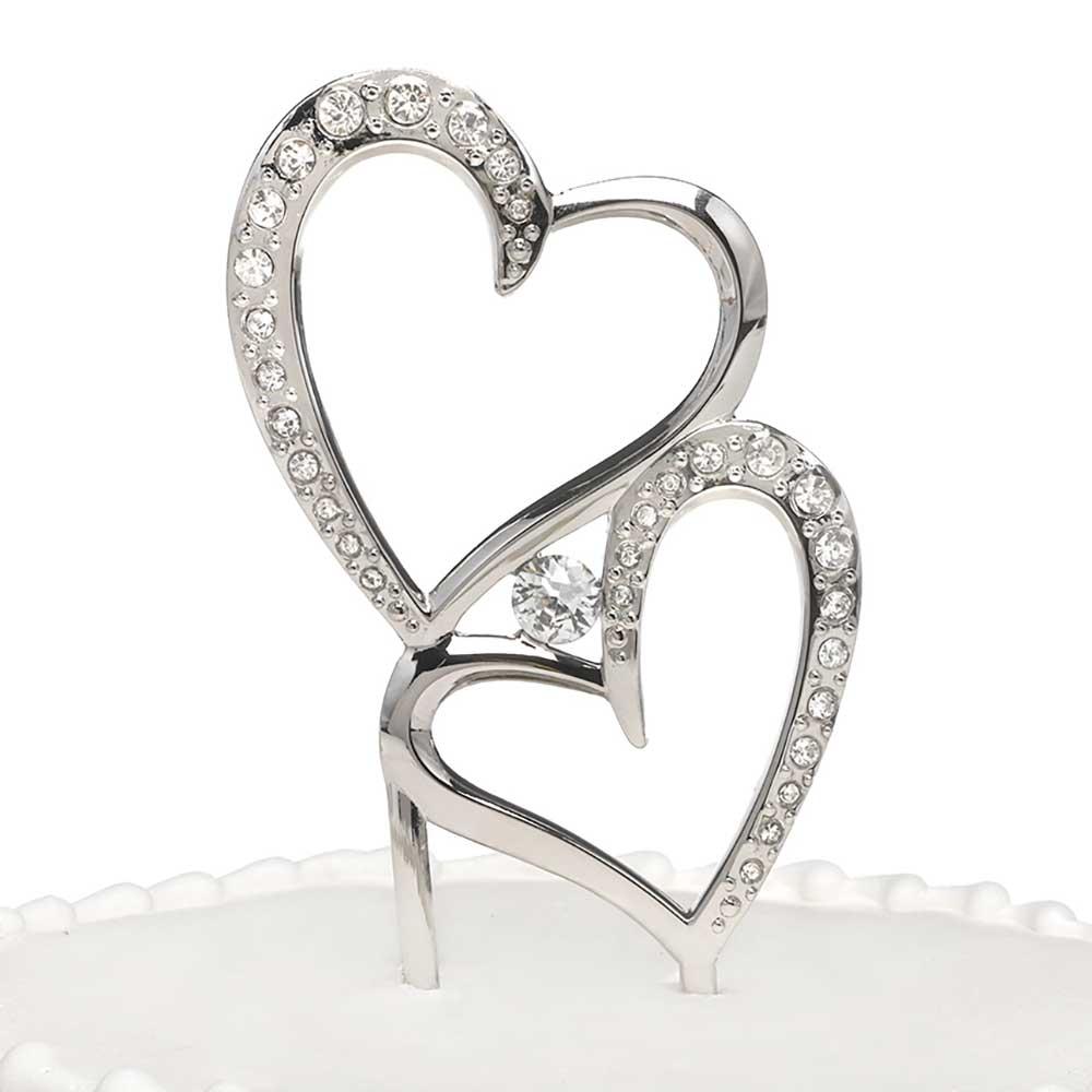 Sparkling Heart Wedding Cake Topper Pick