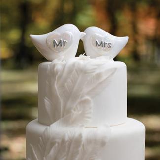 White Love Birds Wedding Cake Topper