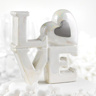 Pearlized Love Wedding Cake Topper