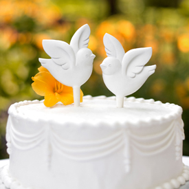 Love Bird Wedding Cake Topper Pick Set