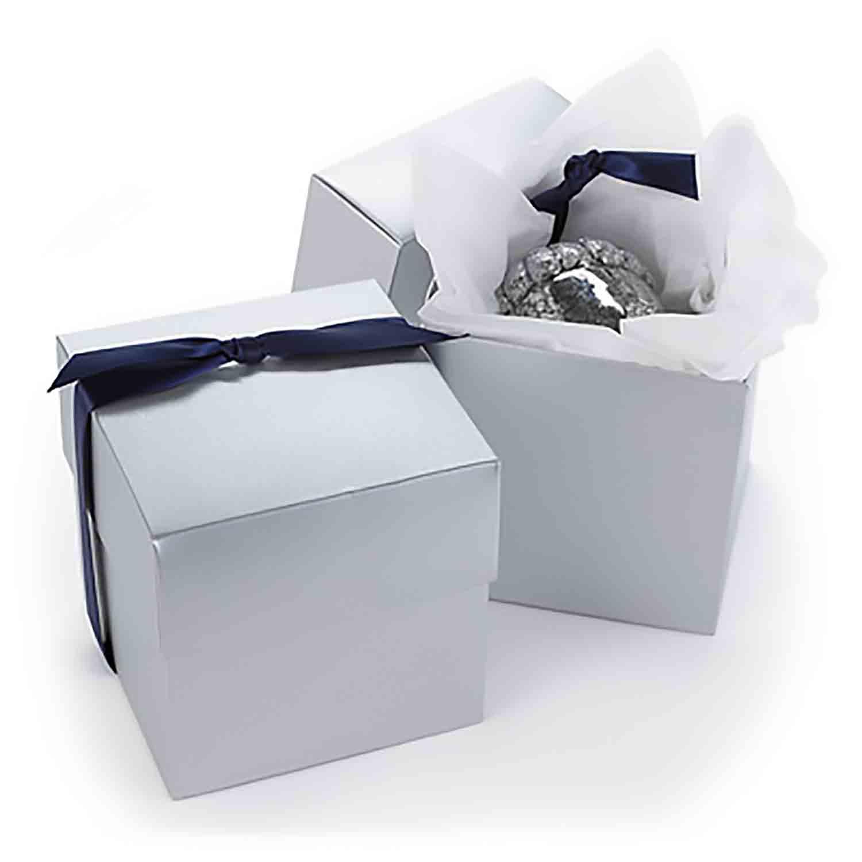 Silver Shimmer Cupcake Favor Box