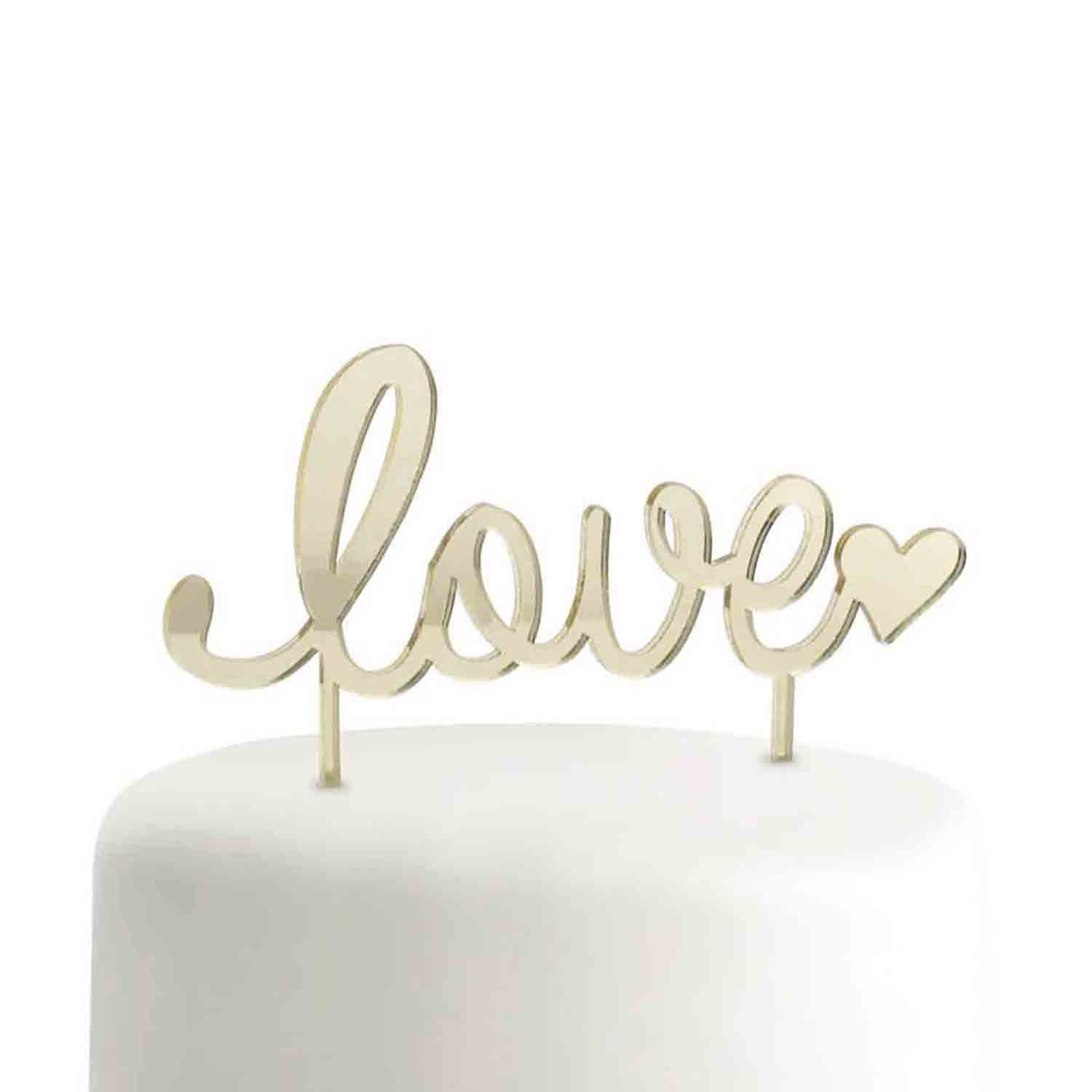 Gold Love Cake Pick Topper