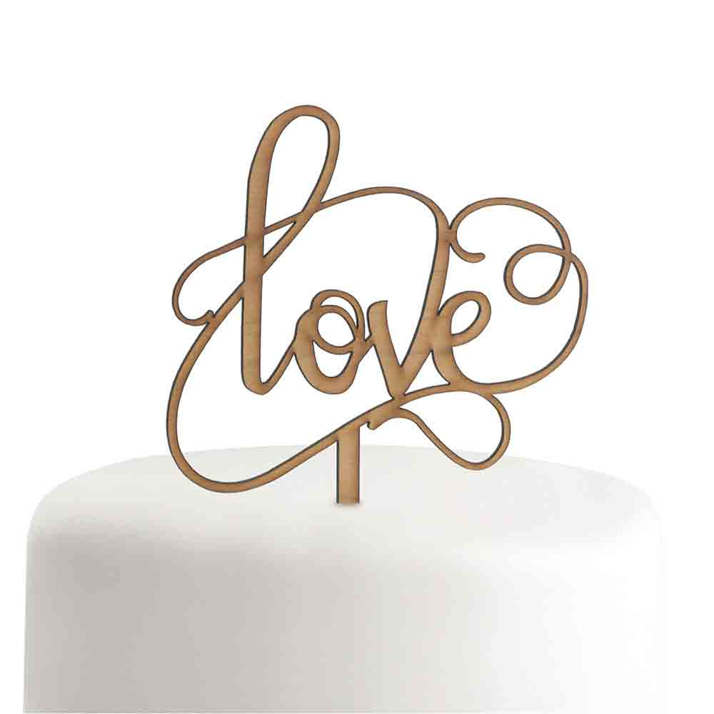 Woodgrain Love Cake Pick Topper