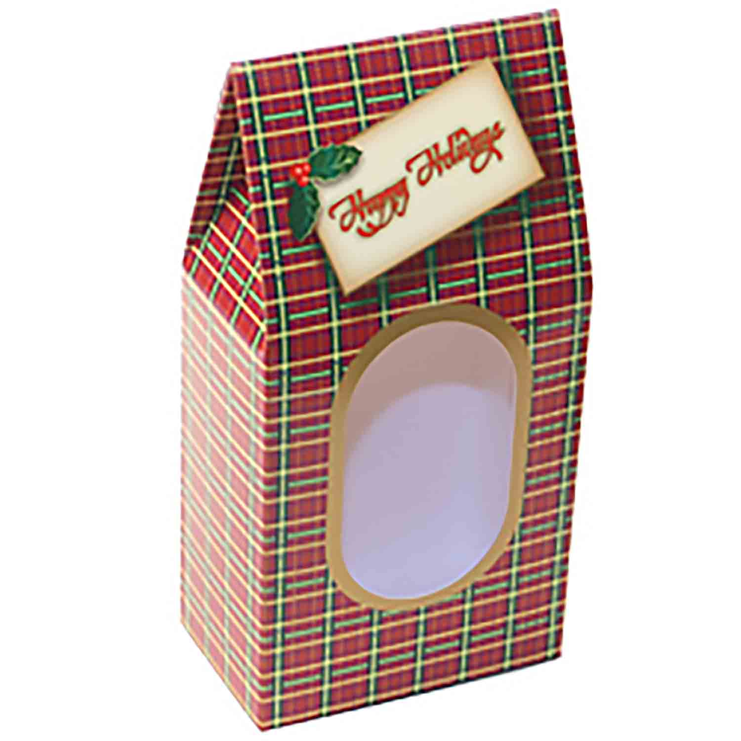 "1 lb. Plaid ""Season's Greetings"" Candy Box"