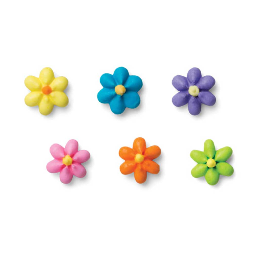 Royal Icing Flowers - Small Bright Star Assortment