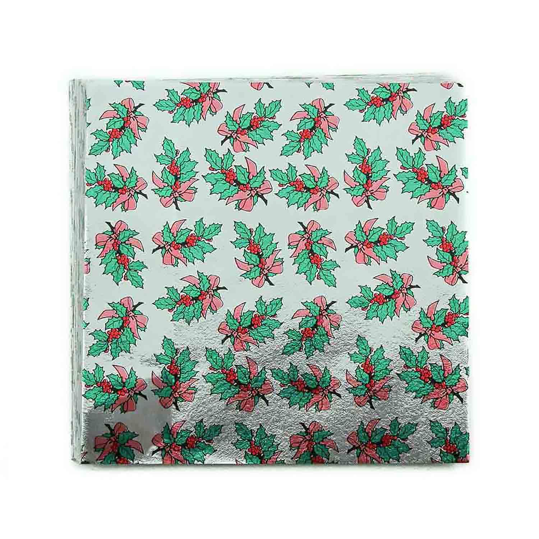 "5 x 5"" Foil Wrapper Holly Bough"