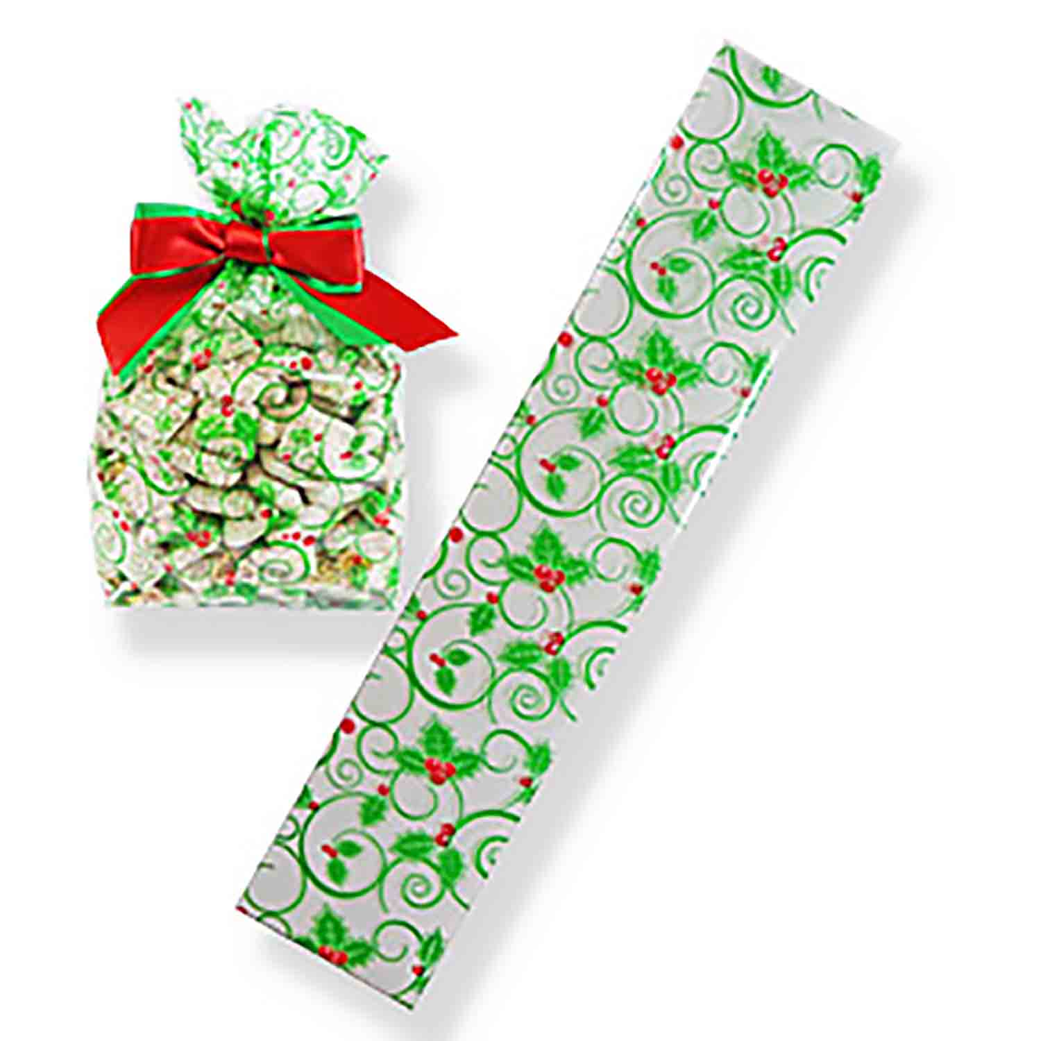 "2"" x 10"" Holly Cellophane Bag"