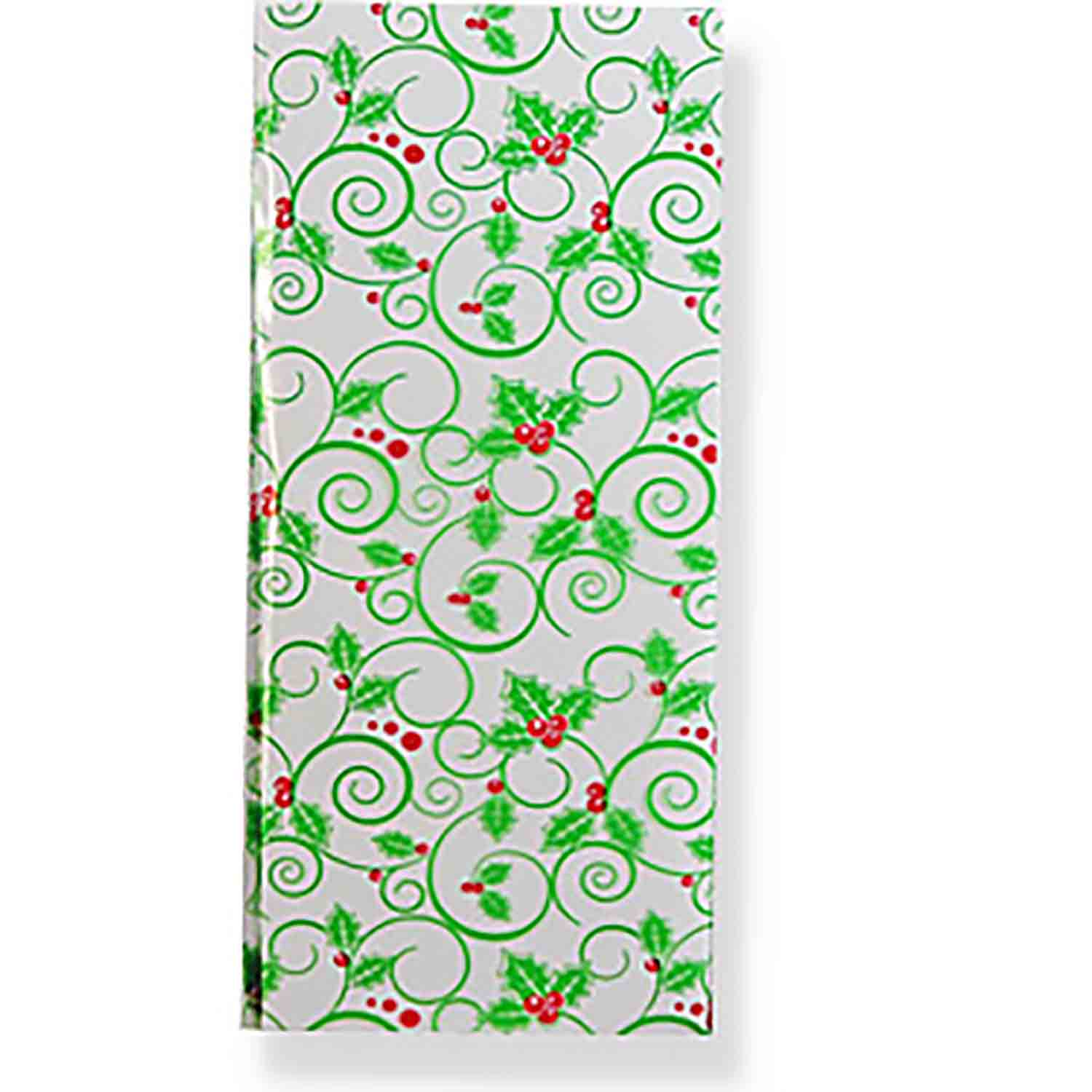 "4"" x 2 3/4"" x 9"" Holly Cellophane Bag"