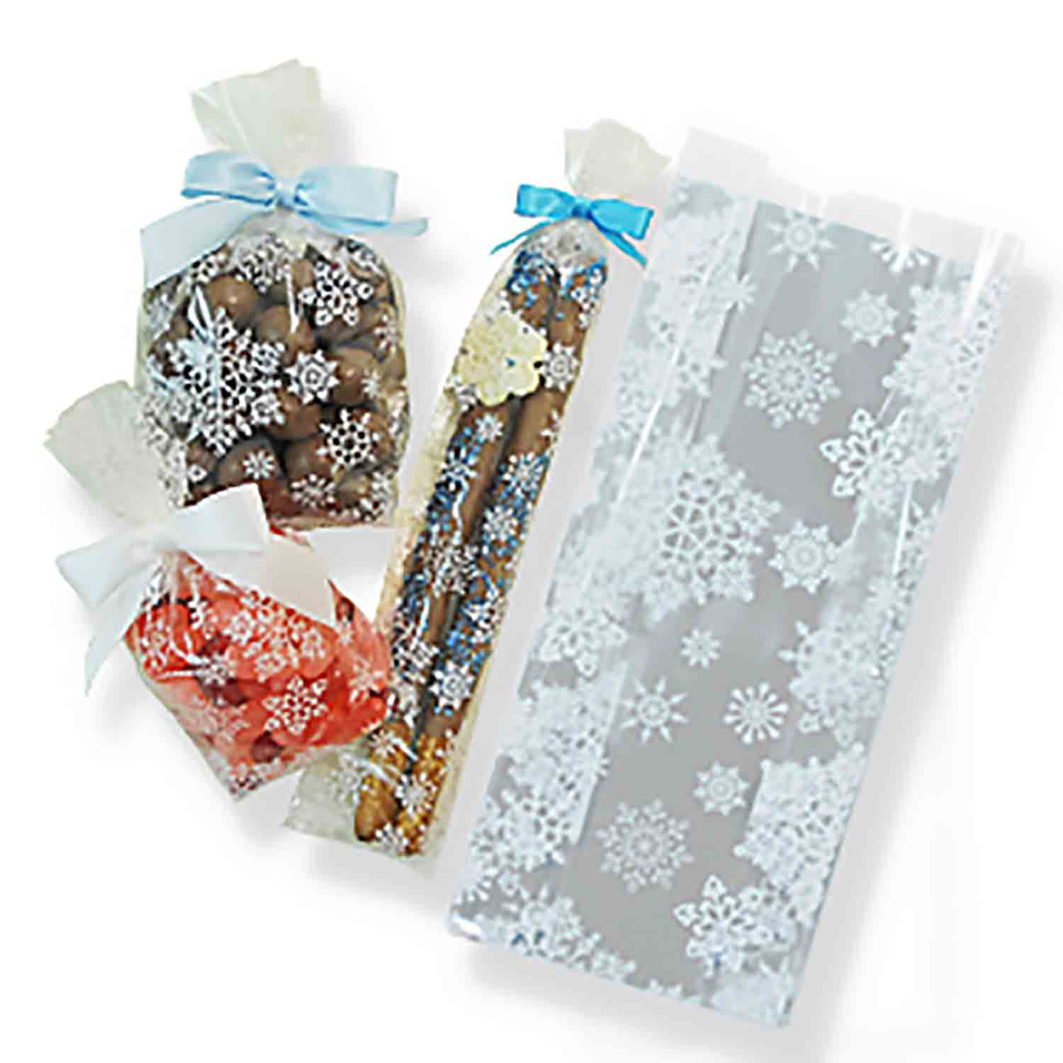 "2 1/2"" x 1"" x 6"" Snowflake Cellophane Bag"