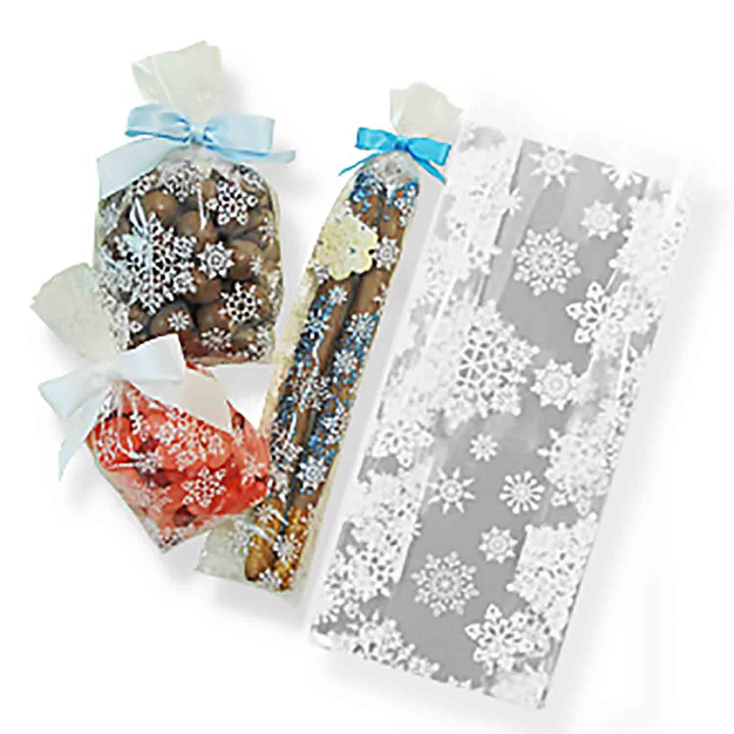 "3 1/2"" x 2 1/4"" x 8 1/4"" Snowflake Cellophane Bag"