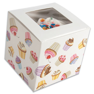 Cupcake Print 1 Ct. Cupcake Box with Window