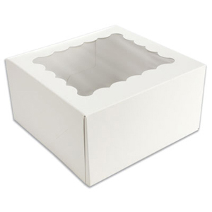 White 4 Ct. Cupcake Box with Window
