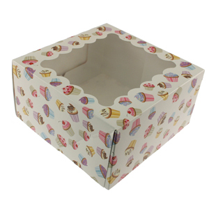 Cupcake Print 4 Ct. Cupcake Box with Window