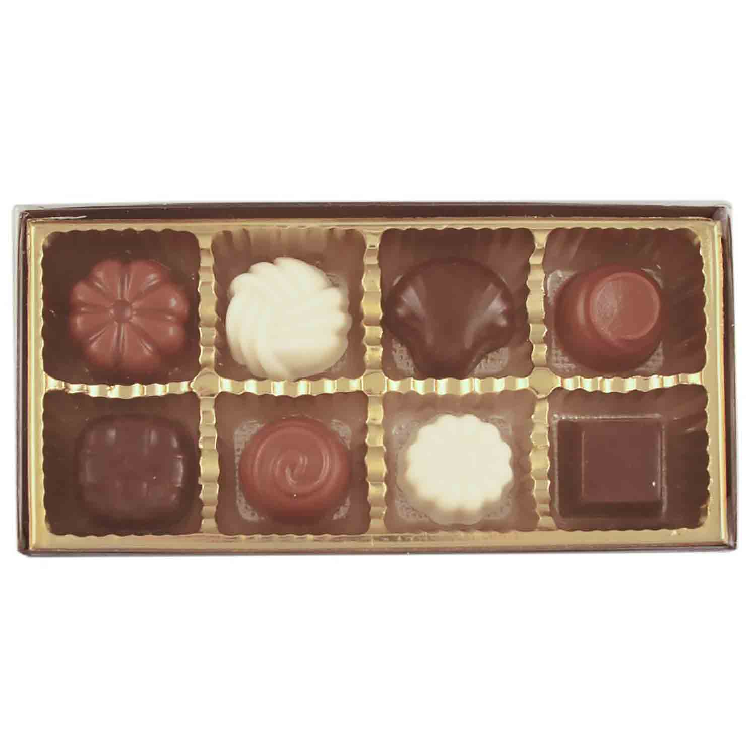 8 Cavity Gold Insert Candy Box with Clear Lid