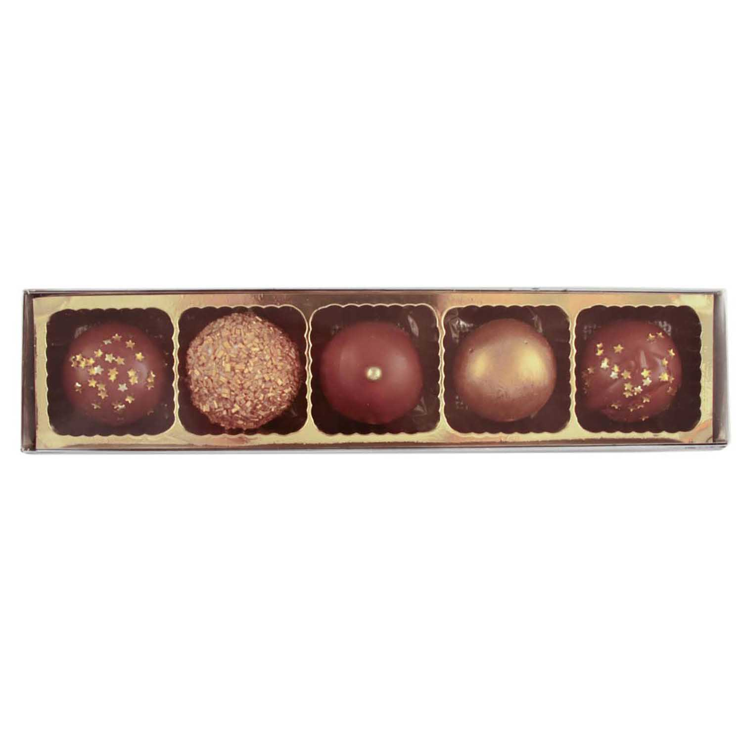 5 Cavity Gold Insert Candy Box with Clear Lid