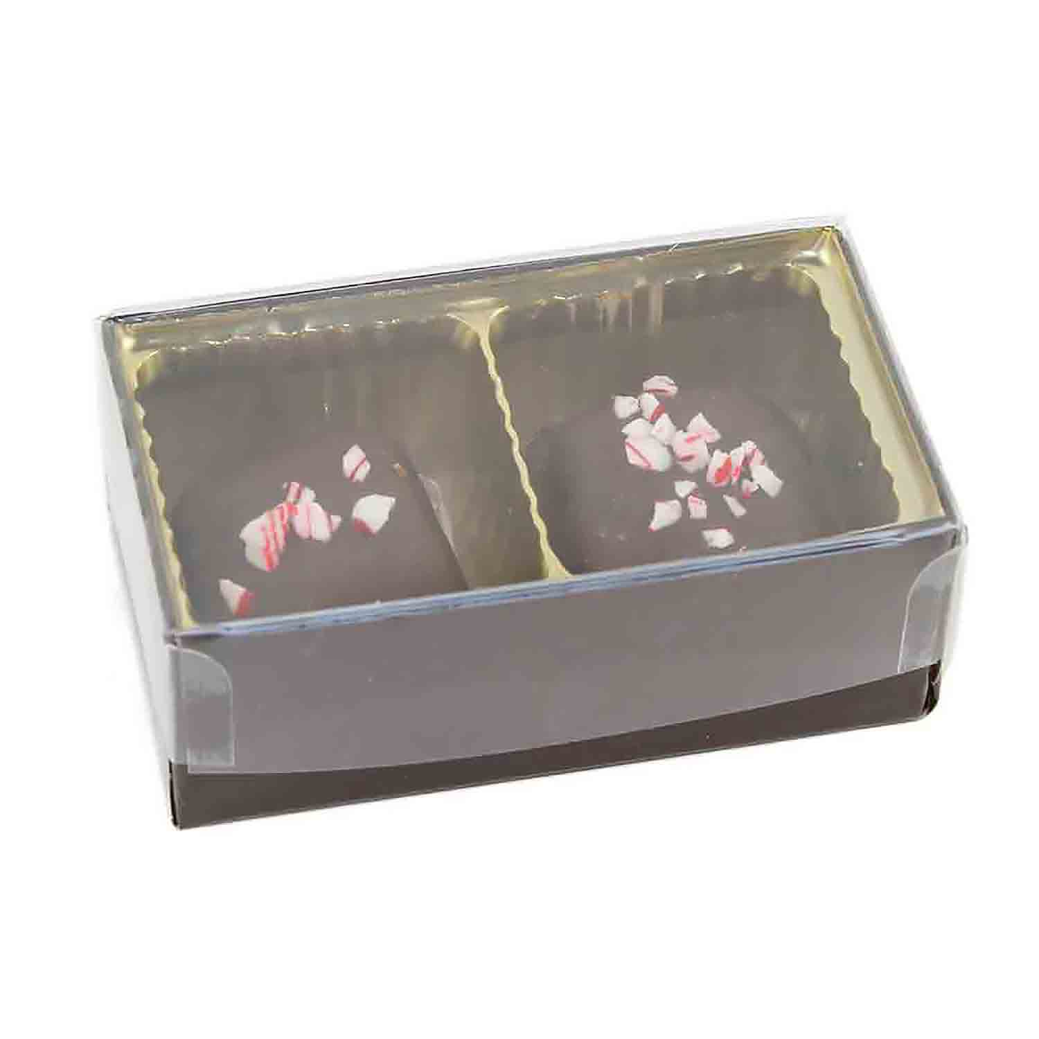 2 Cavity Gold Insert Candy Box with Clear Lid