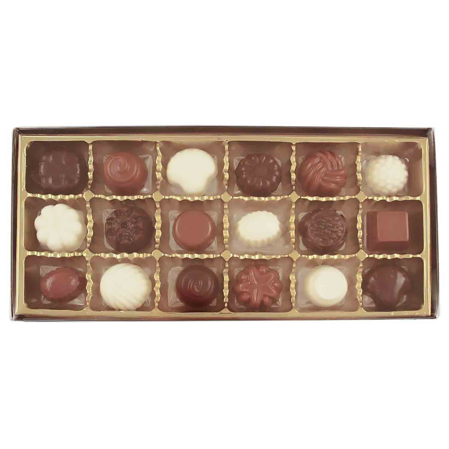 18 Cavity Gold Insert Candy Box with Clear Lid
