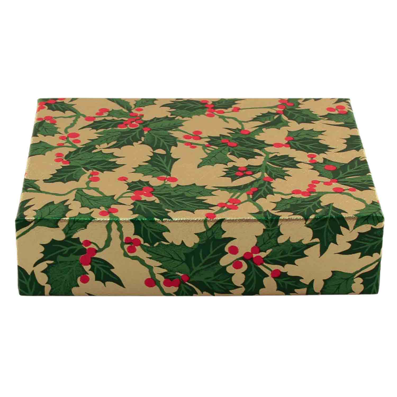 1/2 lb. Holly and Berry Candy Box with Brown Base