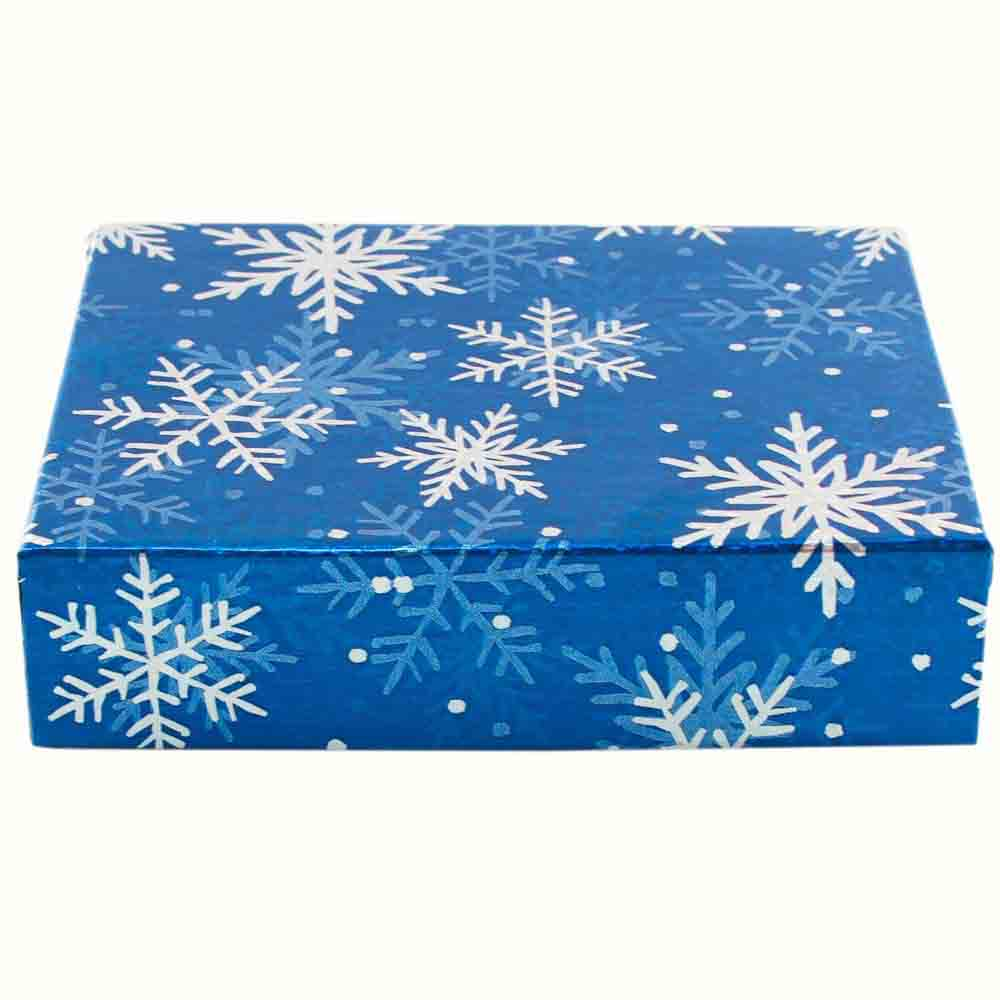 1/4 lb. Snowflake Candy Box with Brown Base